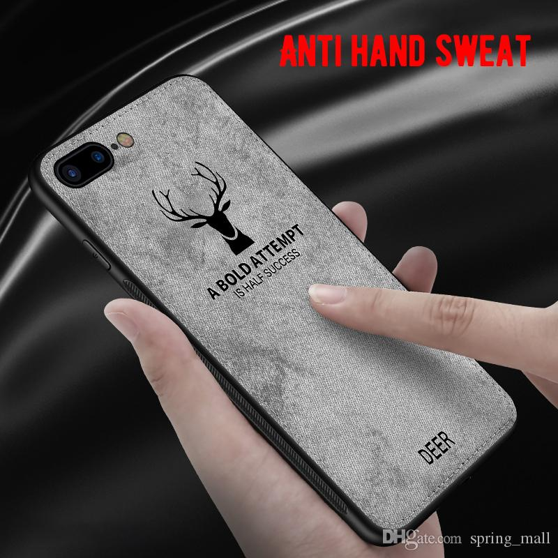 For iPhone 7 8 6 6S Plus Cloth Texture Phone Case For iPhone X XR XS MAX Embossed Deer Pattern Protector Back Cover