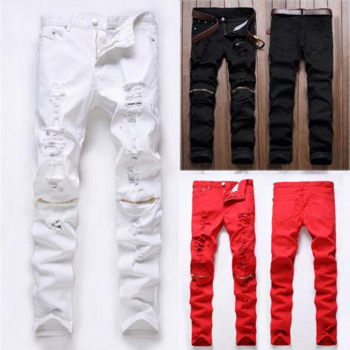2019 nueva moda high street jeans hombre cremallera rodilla golpeó agujero irregular club masculino tela de mezclilla elástico flaco pantalones rotos
