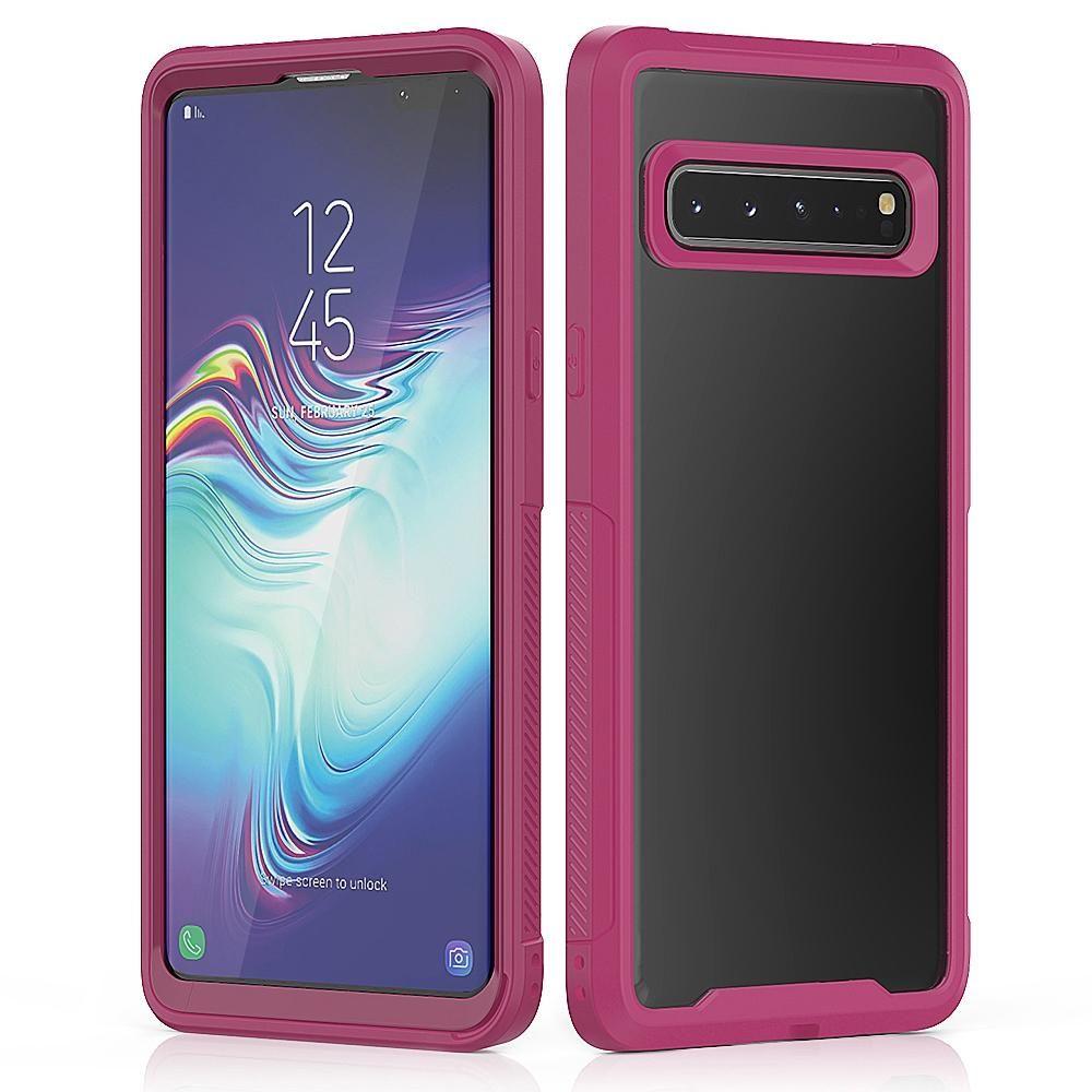 Para prova de arranhão Transparente Quadro Series Galaxy S10 5G TPU + PC à prova de poeira capa protetora Drop-prova