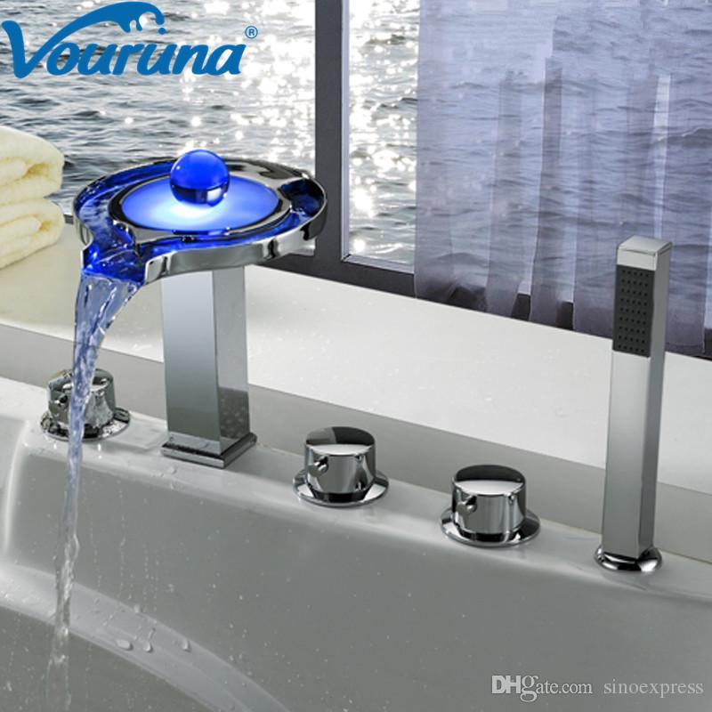 VOURUNA Оптовая Новое Прибытие Нет необходимости Аккумуляторная батарея 5 шт. Водопад Светодиодный Смеситель для ванны 5 Отверстия для ванны, Смеситель для душа, Набор кранов