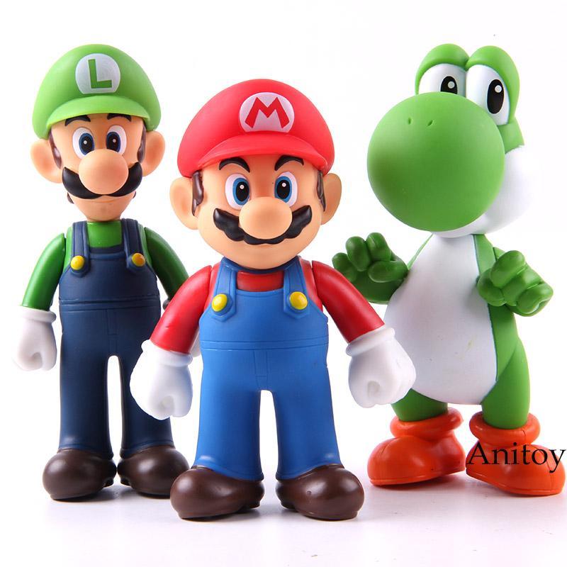 3pcs Super Mario Bros / set 11-12cm Bros Mario Yoshi Luigi figura di azione da collezione Toy Model PVC