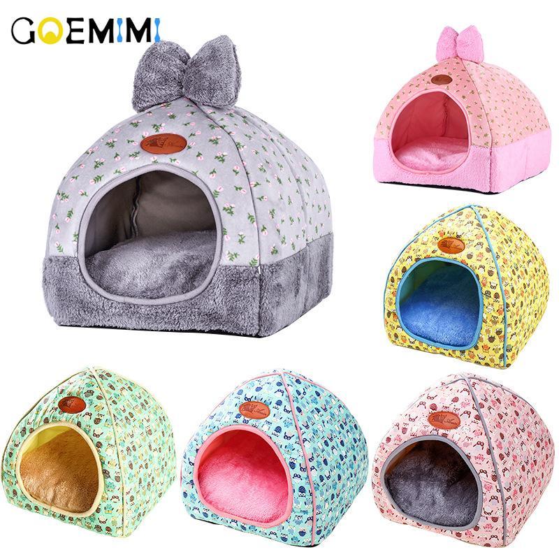 nuovo gatto caldo Cave Lovely Bow design Puppy Inverno Bed Casa Kennel morbido pile nido per Small Medium Dog House per il gatto
