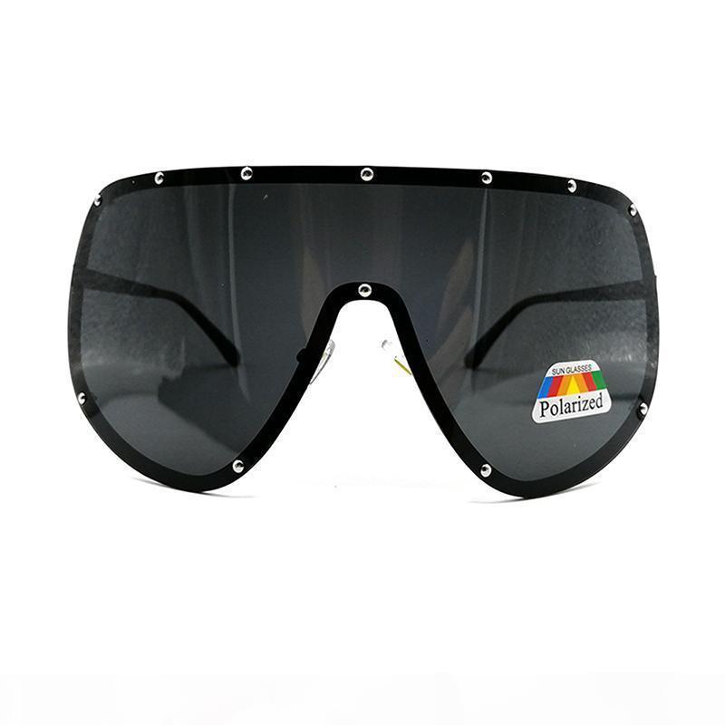 Moda oversize Big Huge Mask Shield fronte mezzo polarizzato grandi occhiali da sole di marca di grande misura femminile Occhiali da sole