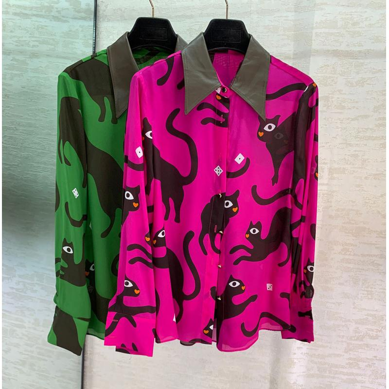 12.28 New Fashion Single breasted Patchwork Contrast color Turn-down collar Cat Print 100% Silk Blouse