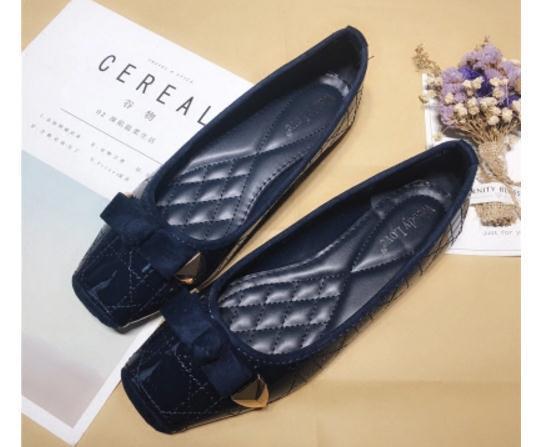 Sıcak Satış-rean ilmek tek ayakkabı Kare kafa kadın ayakkabı Sığ ağız düz dipli ayakkabı