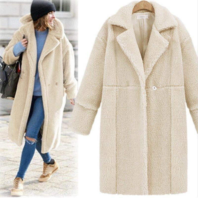 Женское зимнее пальто Faux Mur 2019 женская мода прохладный теплый новый пушистый волосатый пальто отвергнуть воротник плюс размер дамы