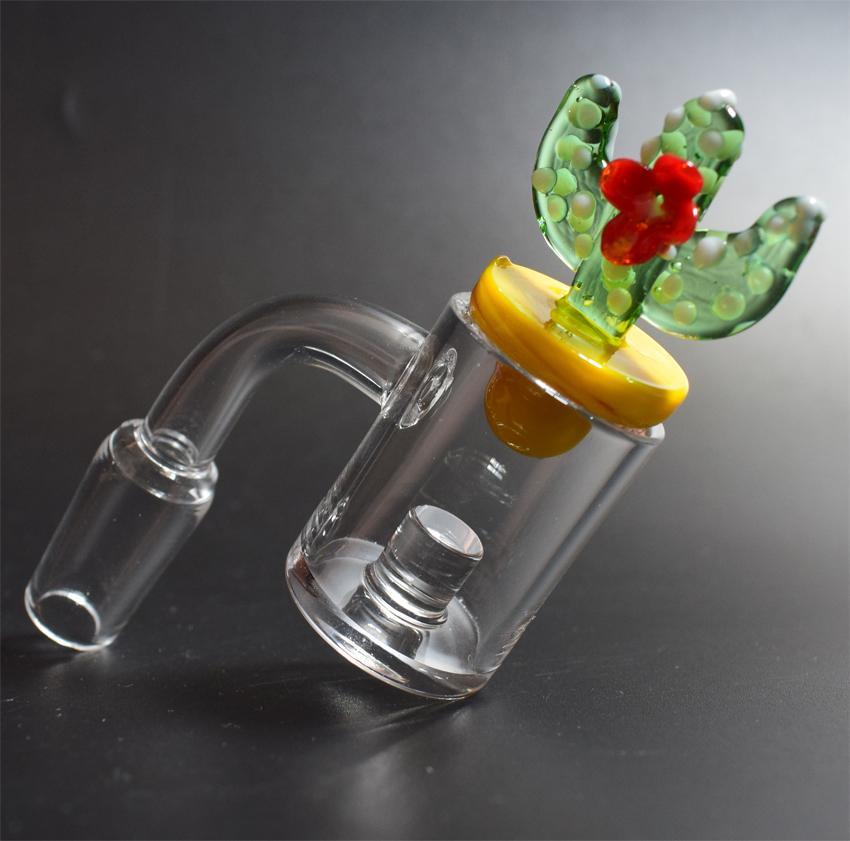 Quartz Banger du cœur du réacteur Nail Set OD 25mm Flat Top canard Cactus couleur Carb Cap pour Bongs Dab Oil Rig