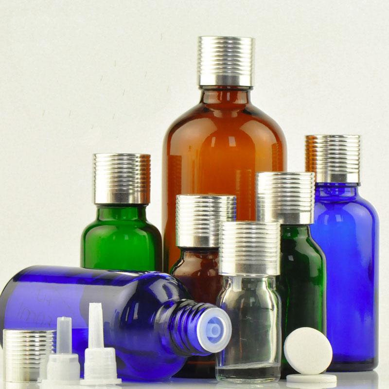 30 piezas Botella de aceite esencial de cristal de perfume frasco del aroma con el interior del enchufe vacío medicinal Botella de plata rosca de la tapa envase cosmético