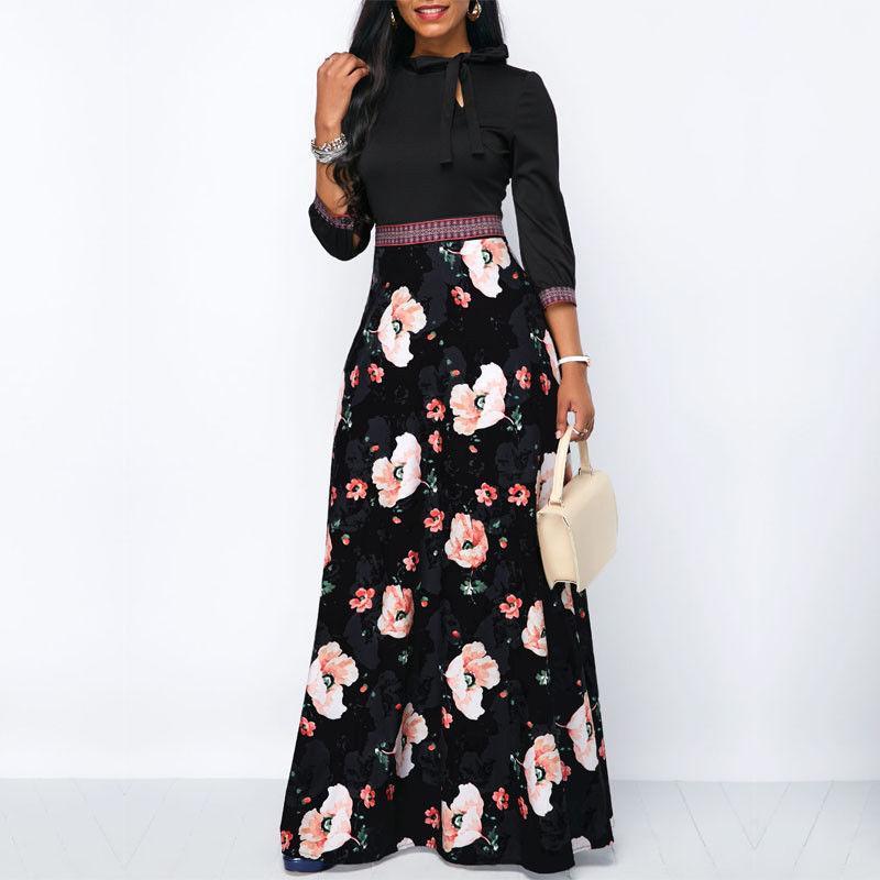 Kadın Giyim Tasarımcısı Elbise Kadınlar Uzun Maxi Elbiseler Üç Çeyrek Kol Çiçek Etnik Yaz Plaj Şık Stil Elbise yazdır