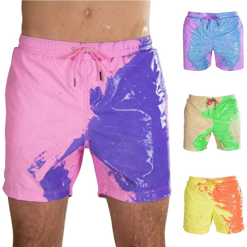 5XL 2020 Hot Summer Men Swimming Trunks Change Color Beach Shorts Drawstring Quick Drying Bathing Swimwear Short Pants