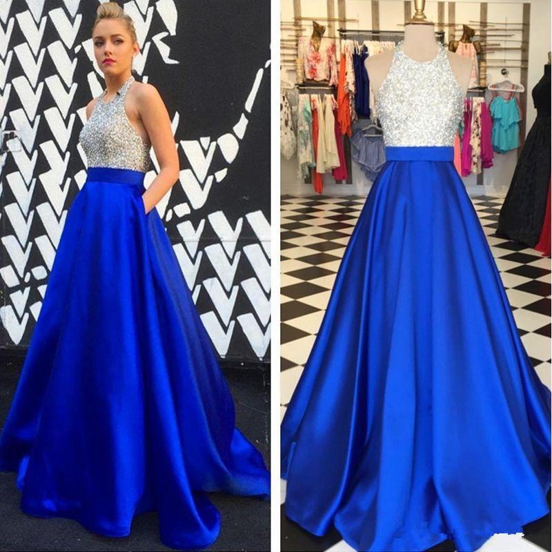 Royal Blue Full Length Prom Dresses Long Ball Gown Top Sequined Dresses Evening Wear 2019 Holiday Real Image Formal Party Gowns