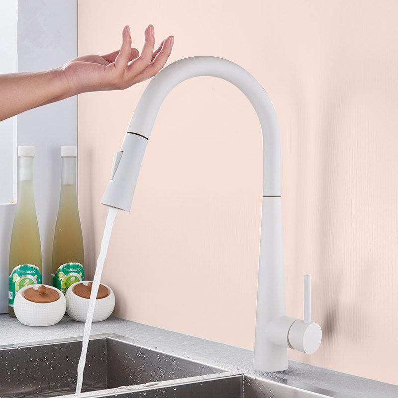 Weiß Schwarz Touch Control Sensor Küchenarmaturen Singe Griff 360 Rotation Mischer-Hahn-Smart-Sensor-Küche-Mischer-Hahn