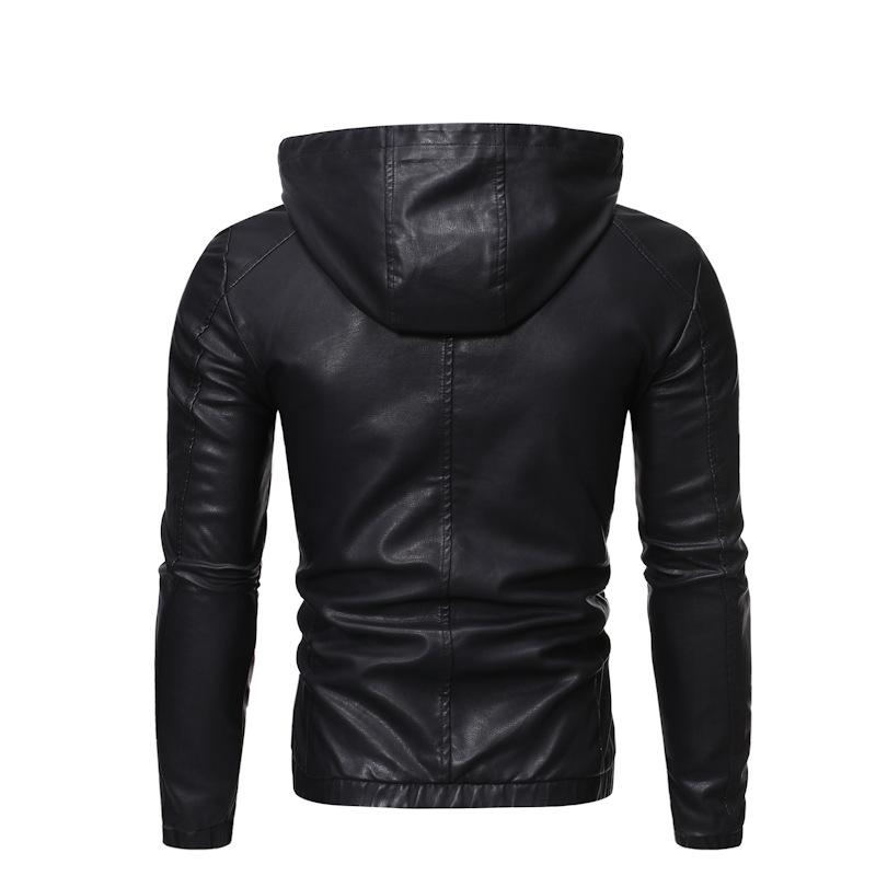 2019 specifically for cross-border trade in Europe and America the new Slim Hooded men's leather motorcycle jacket leather men