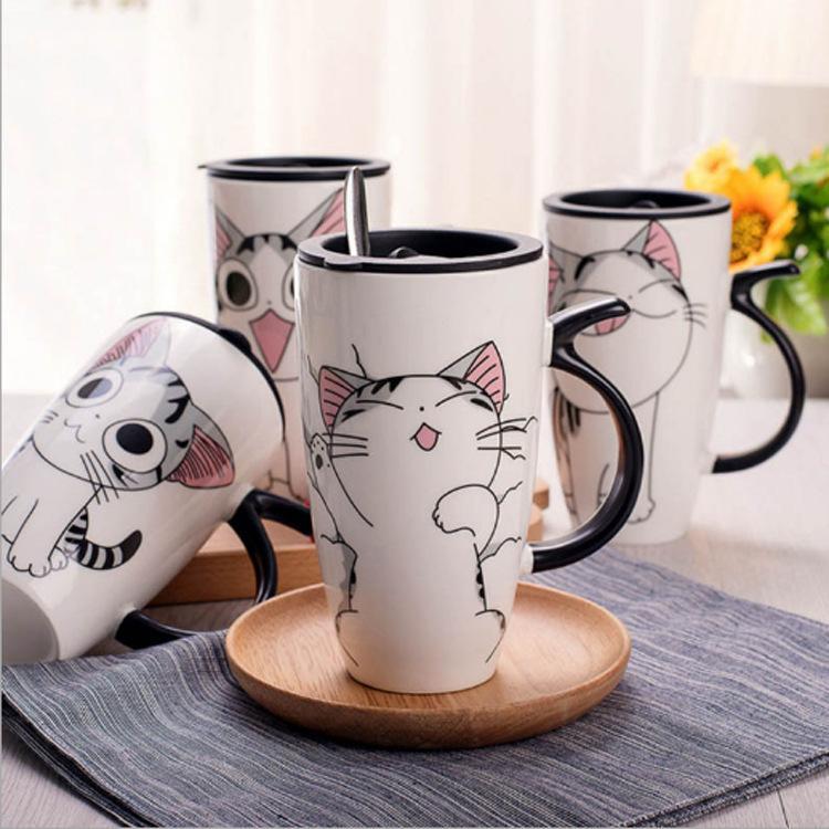 Taza Cerámica Gato lindo con la tapa grande de 600 ml de capacidad creativa Tazas animales Vasos Tazas de café de la novedad de la taza de los regalos de la leche