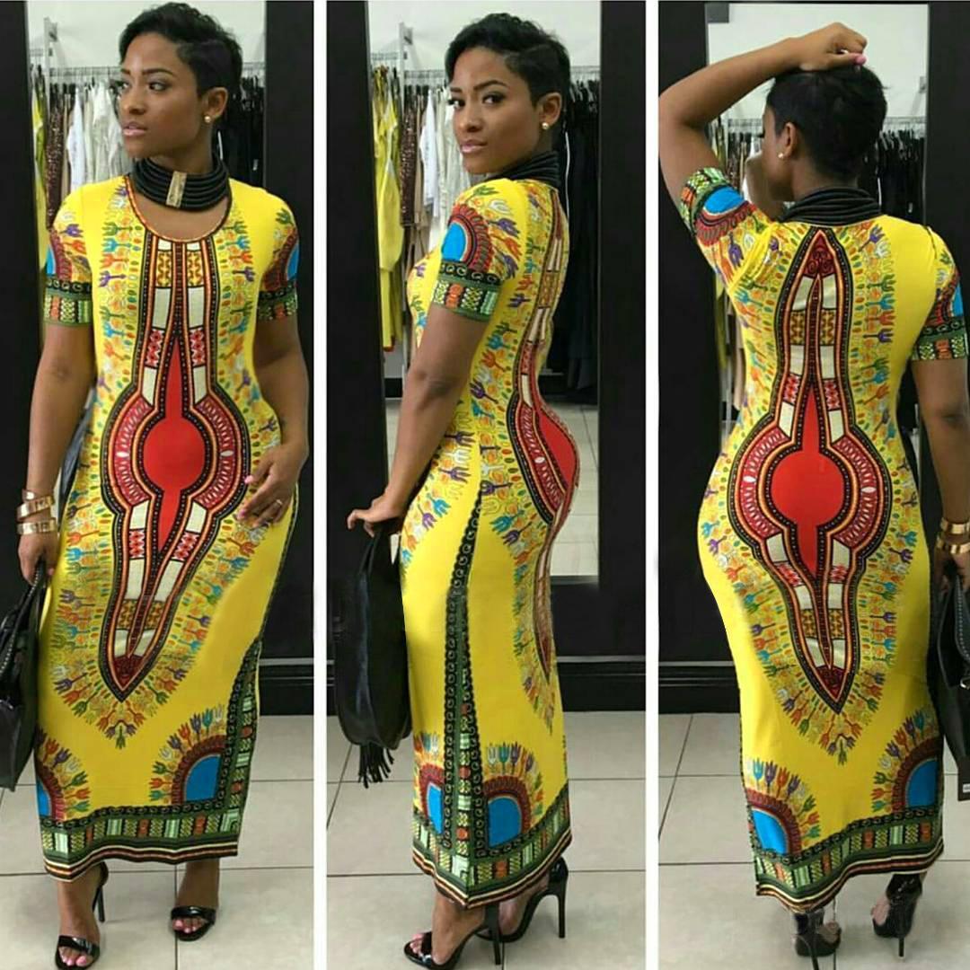Nave libera 2020 nuove donne adattano Tradizionale Africana Stampa abito da signora Slim aderente Dashiki Abiti XXL