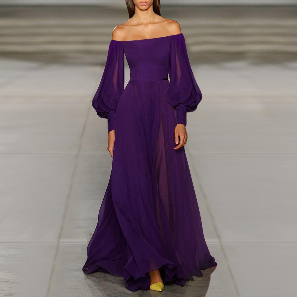 2020 Europa y América transfronteriza estilo caliente del vestido de un solo hombro vestido de manga farol de remanentes de la mujer s-3xl