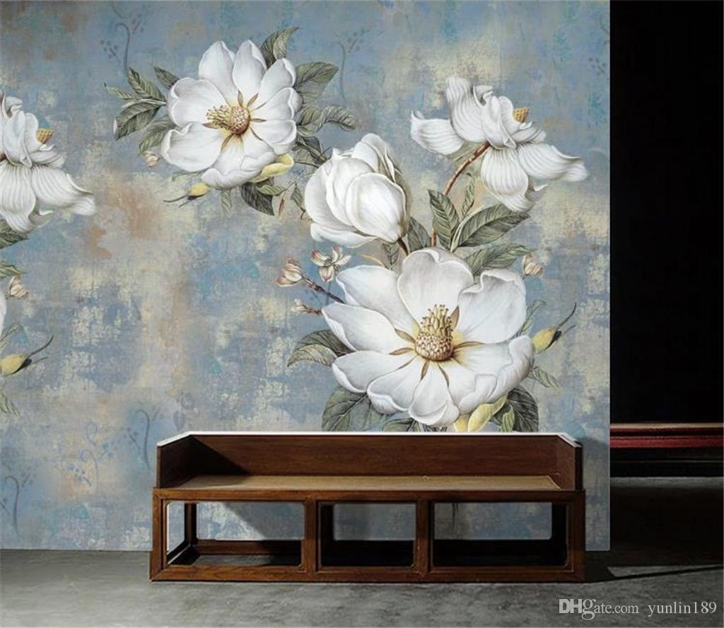 Online Wholesale Wallpaper Vintage Oil Painting Flower Wall