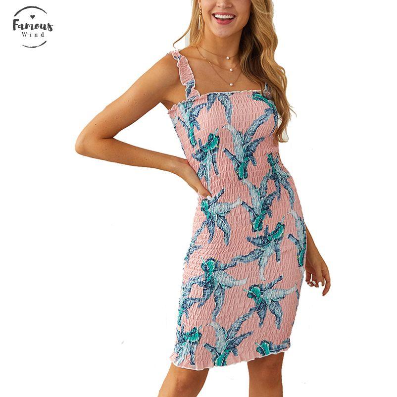 Plaj Seksi Kadınlar Elbise Şık Flora Baskılı Elbiseler Lady Çiçek Kolsuz BODYCON Parti Elbise Yaz Boho Designer Giyim yazdır