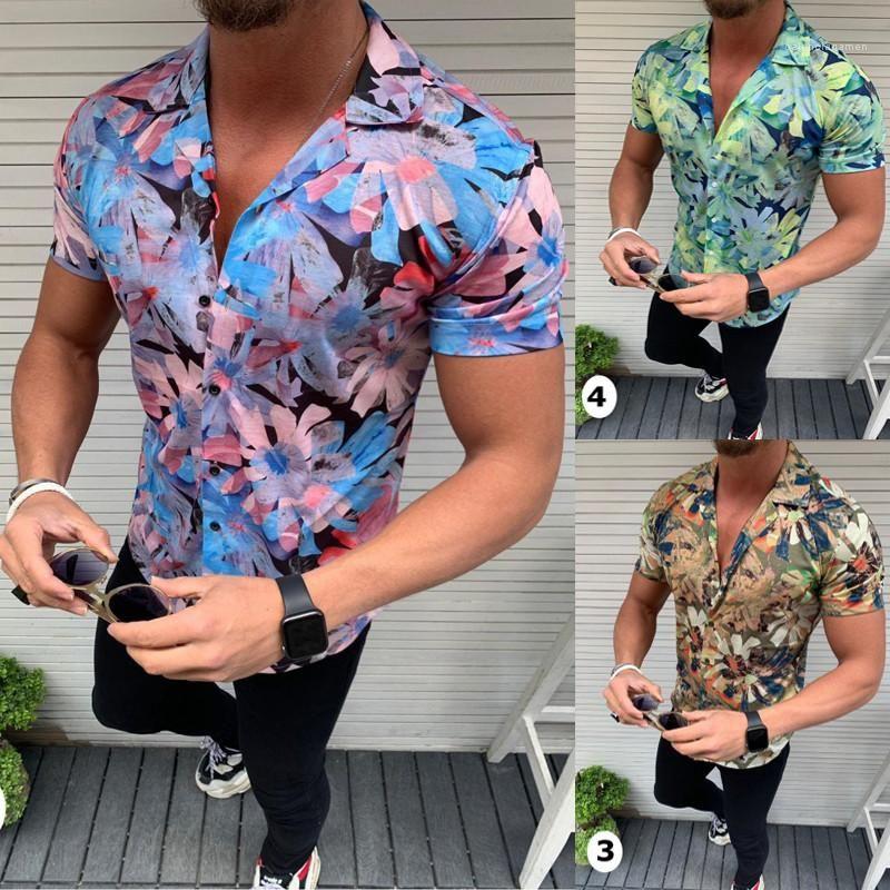 Single Breasted Shirts Mens Slim Fit Flora Shirt Lapel Neck Summer Short Sleeve Shirt Homme Tops For Men