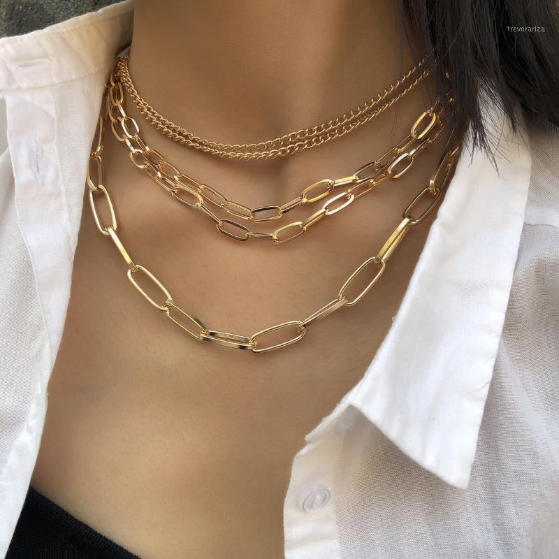 5 layer Multilayer Geometric Punk Chain Necklace For Women Men Lover Hiphop Rock Hippie personality creative Collar Jewelry1