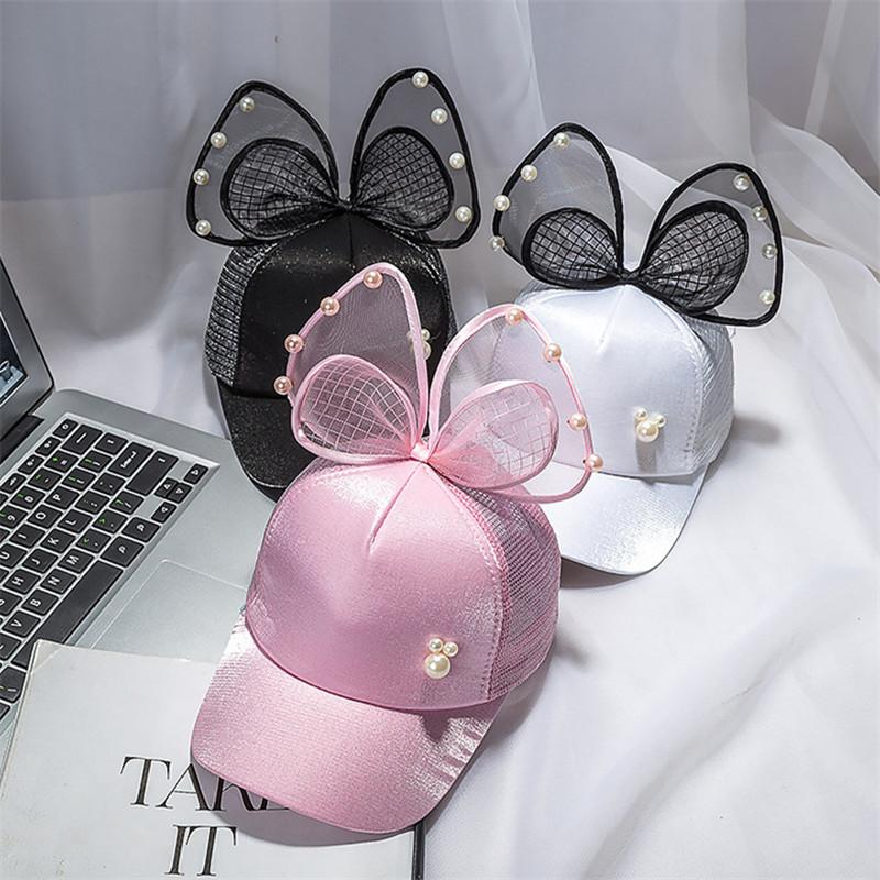 Glitter Baby Baseball Cap with Bowknot Pearl Visor Caps Mesh Back Sun Hat Casquette Princess Girls Peaked Cap Adjustable Snapbacks Topee INS
