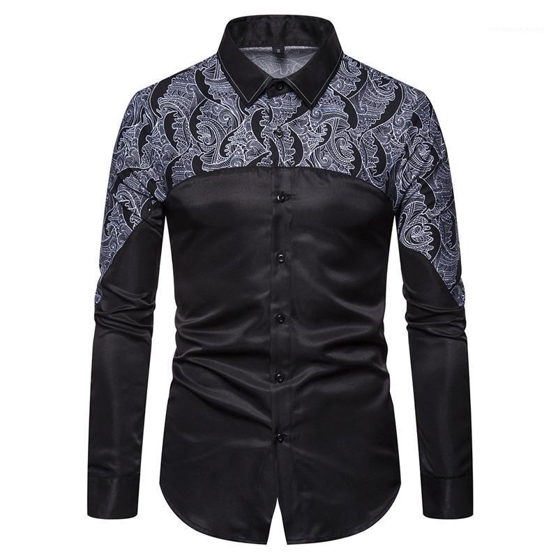 القمصان المطبوعة مصمم قمم عارضة طويلة الأكمام رجالي عادية التلبيب الرقبة قمصان 2020 رجالي الرقمية