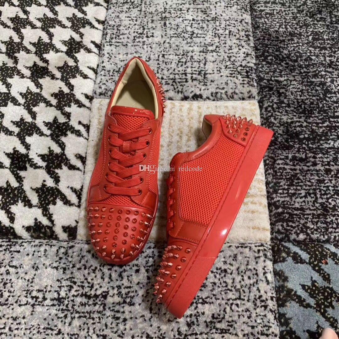Homme BF Cadeau Pointes D'anniversaire Chaussures À Fond Rouge Pour Hommes, Marques De Femmes Mesh Cuir Rivets Chaussures De Skateboard [Boîte d'origine, EU35-46]