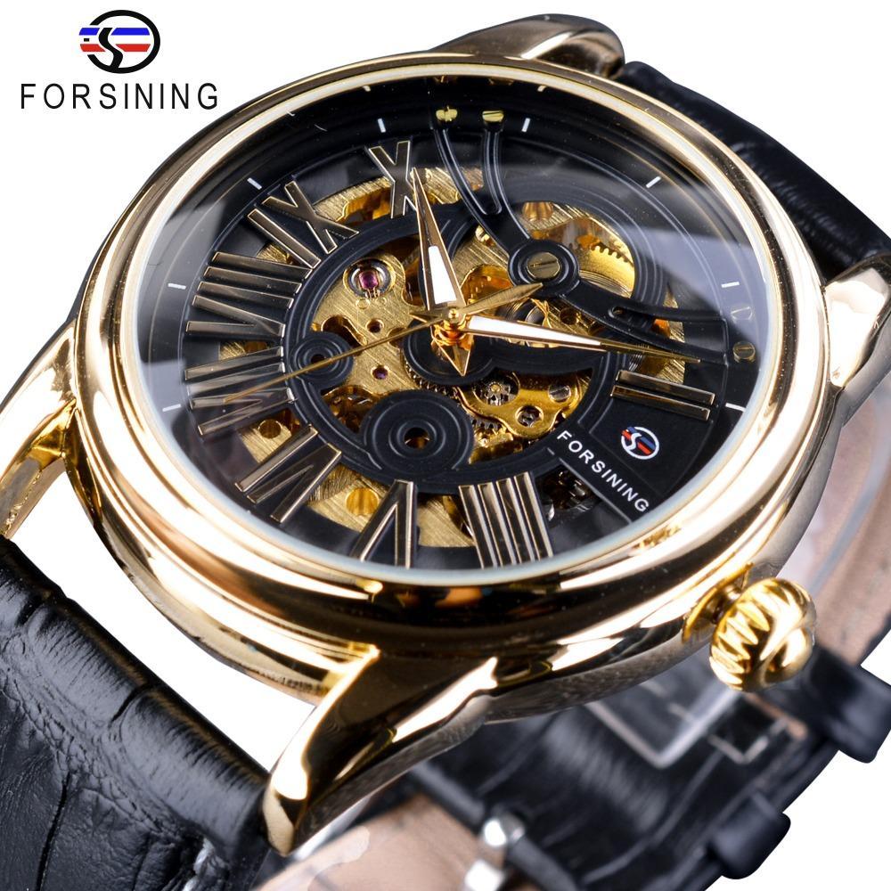 Diseño de lujo para hombre de la correa Forsining Exclusivo oficial la venta del diseño de moda de cuero romana moderna automático esquelético del reloj superior de la marca