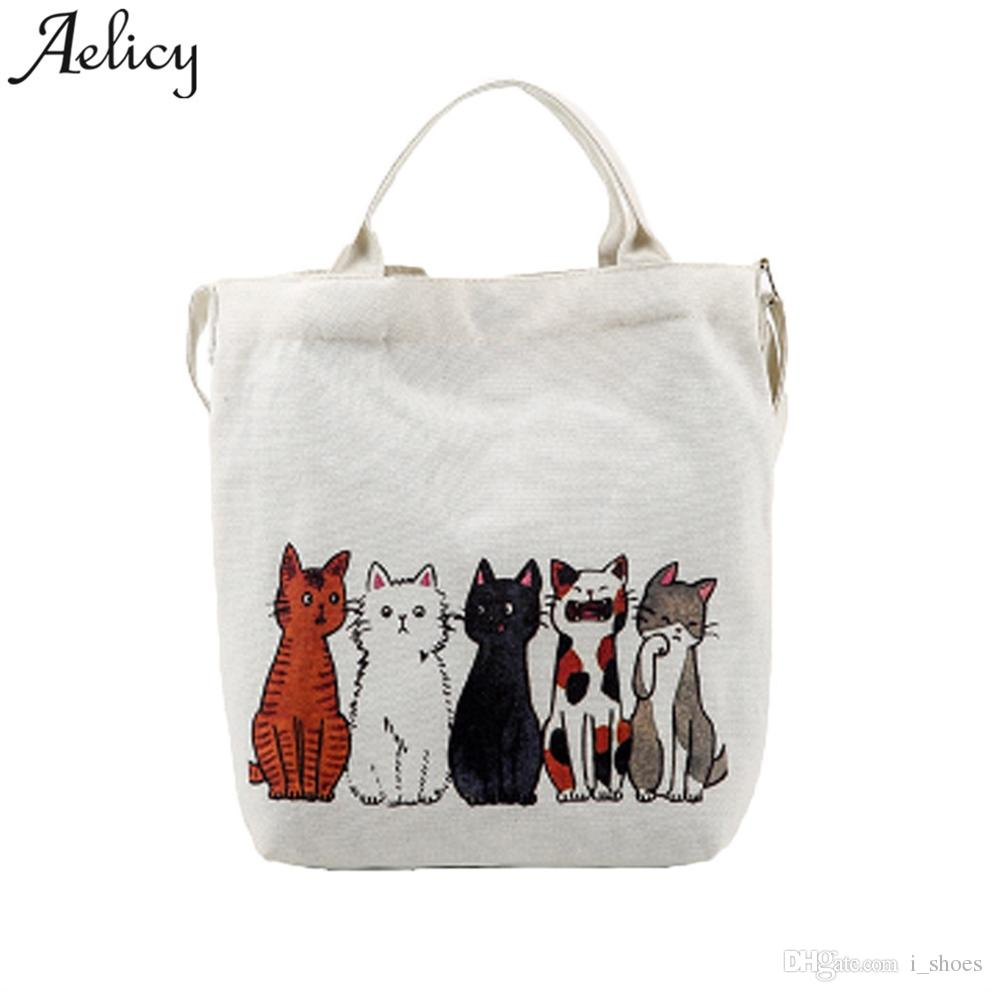 Aelicy bags for women 2018 Large White Canvas Tote Bag Fabric Cotton Cloth Reusable Shopping Bag Women Printed Beach Handbags #151664