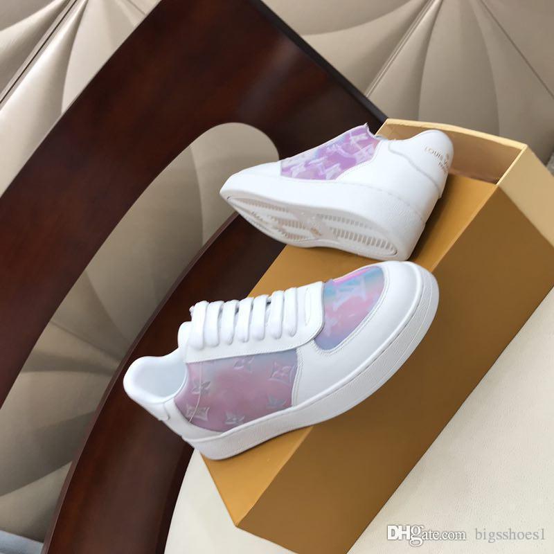 Louis Vuitton LV shoes Homens Mulheres Sapatos casuais moda de luxo sapatilhas desenhista calça Melhor Suede Grey Leather Platform Sneaker