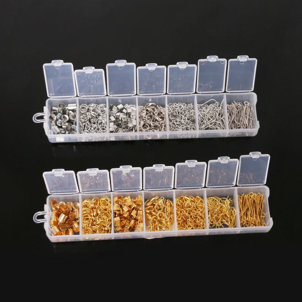 300pcs / set ، طقم مجوهرات النتائج المختلطة الذهب / اكسسوارات الروديوم (حلقة القفز ، نهاية الغطاء ، المشبك ، سلسلة ، هوك ، دبوس) ديي لصنع المجوهرات
