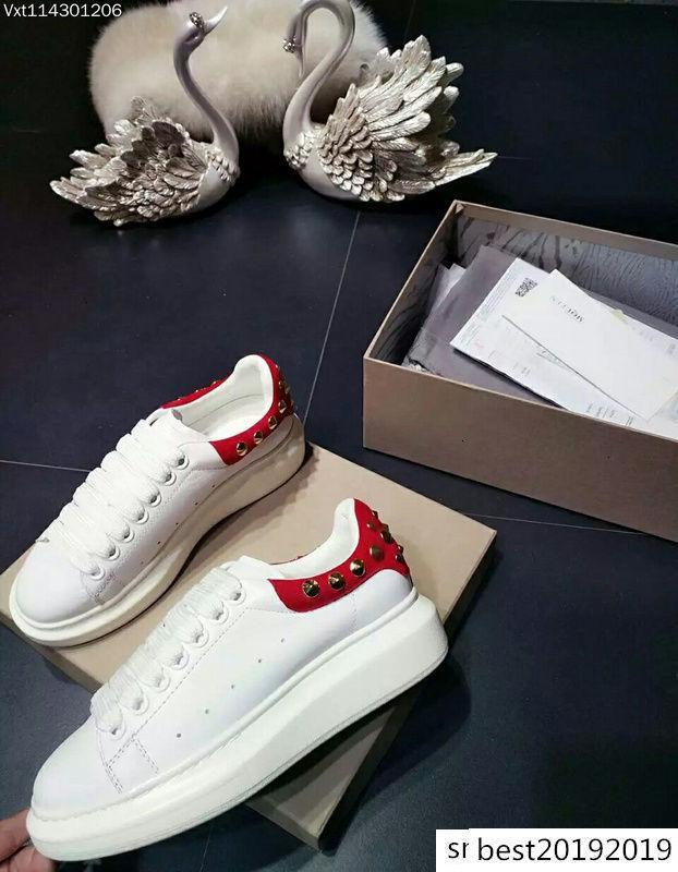 Scarpe Uomo donne superiori Rivetti piane della pelle bovina in vernice Alexander MQ bianco coppie casuali Scarpe Sneakers Taglia 35-46 9