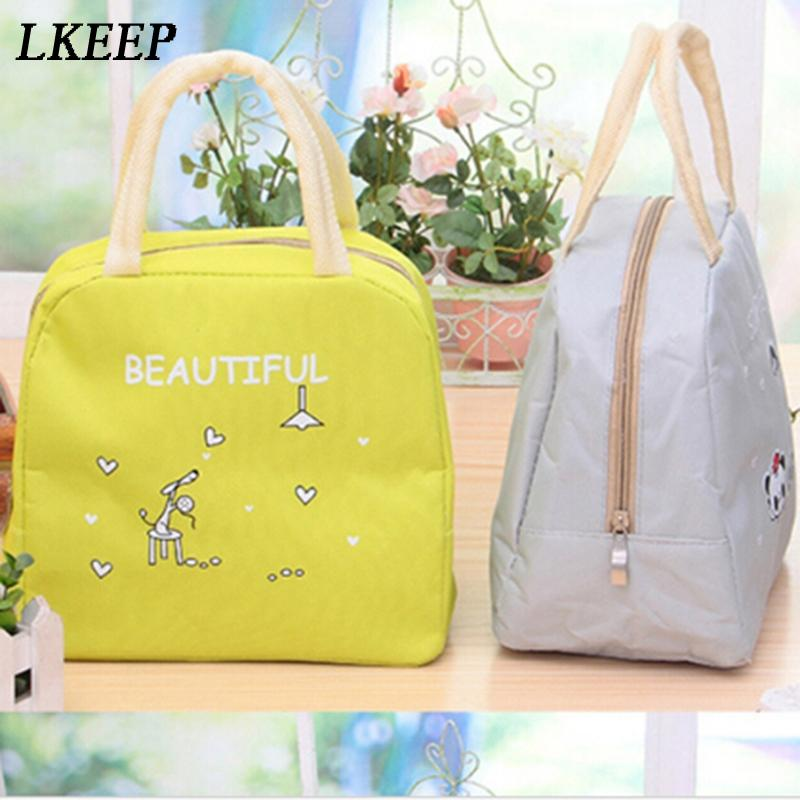 Cartoon Animals Lunch Bags Thermal Picnic Kids Girl Lunch Insulation Box Bag Women Portable Insulated Thermo Cooler Bags