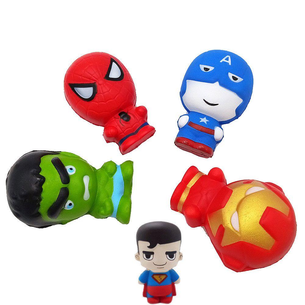 Avengers Squishy Toys spiderman ironman hulk Captain America serre la nouveauté Super-héros décompression Super-héros Scented Juetes Squishies