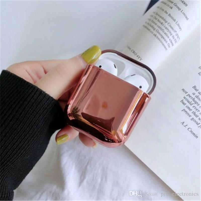 Luxury case for airpods designer case bling gold plating protective cover for apple earphone 2 1 accessories 5 colors