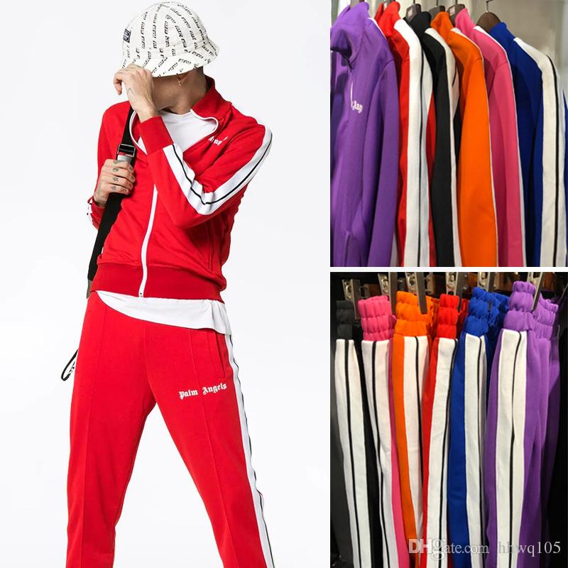 b5051763ff368 2019 New Palm Angels Tracksuit Men Women Vintage Sports Sweatsuit ...