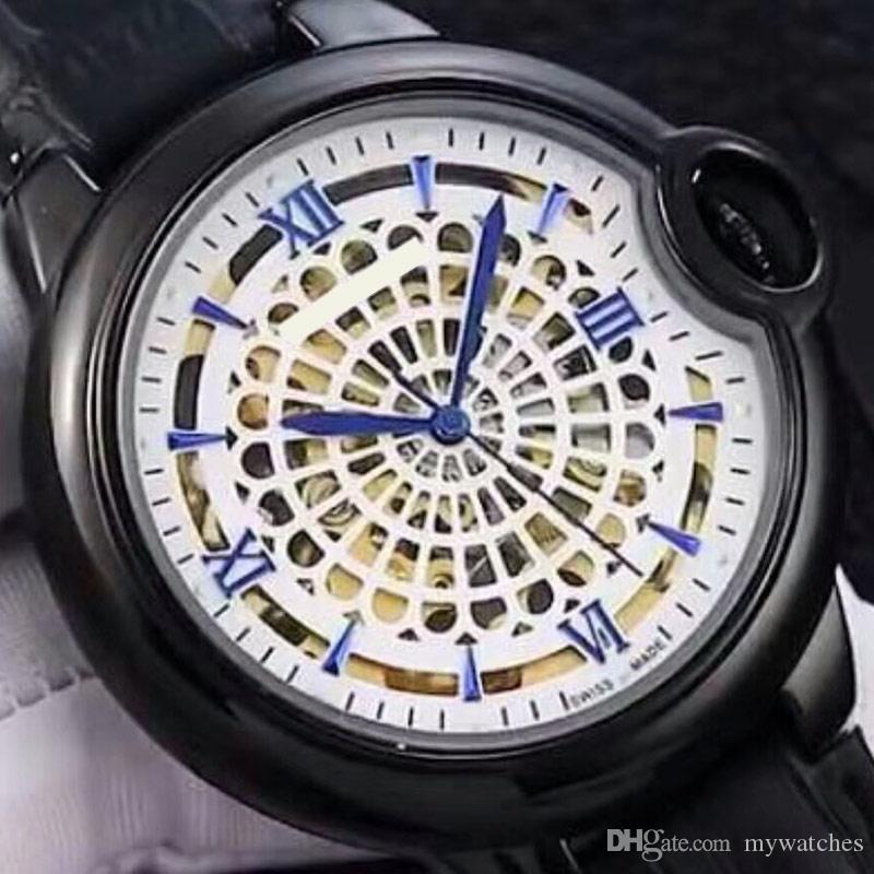 42mm reloj de los hombres dial de la manera relojes mecánicos automáticos completa de acero inoxidable de cuero genuino de pulsera para hombre mejor regalo de San Valentín
