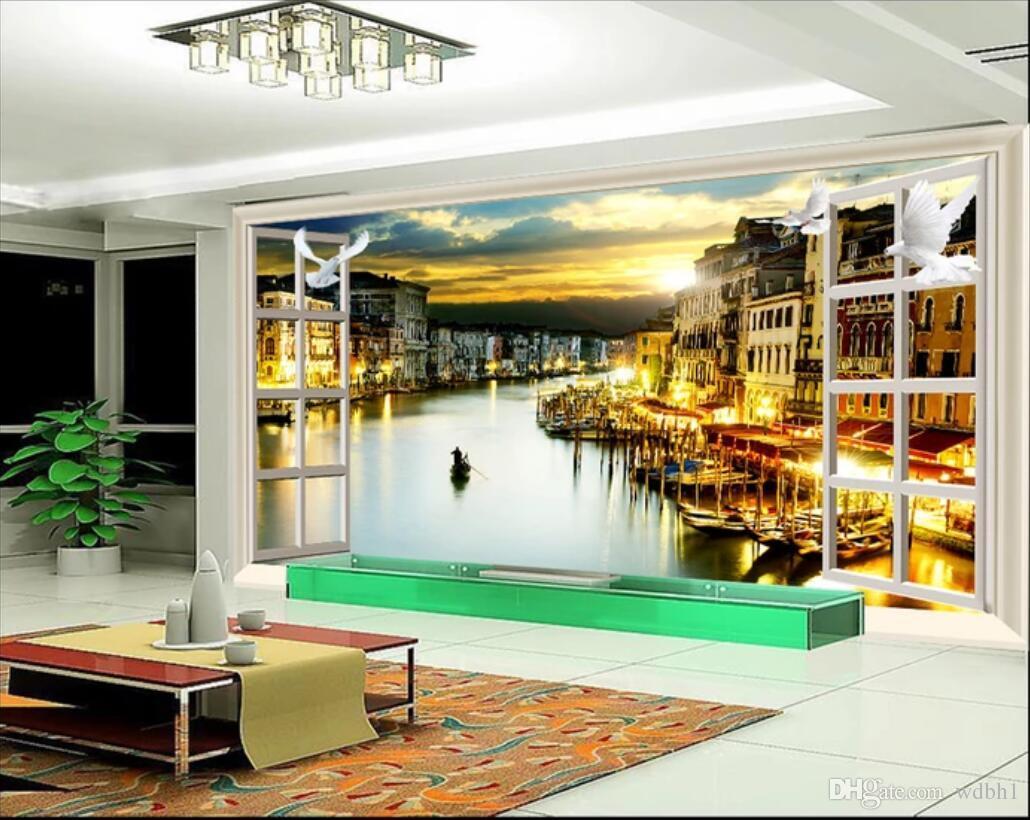 3d wallpaper benutzerdefinierte fototapeten Fantasy europäische landschaft 3D stereo TV hintergrund wanddekoration malerei leinwand wandkunst bäume rot schwarz