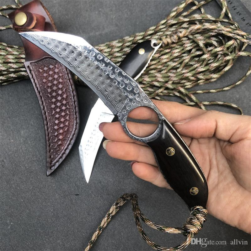 2020 New High End Damascus Fixed Blade Knife VG10 Damascus Steel Blade Full Tang Ebony Handle Tactical Knives With Leather Sheath