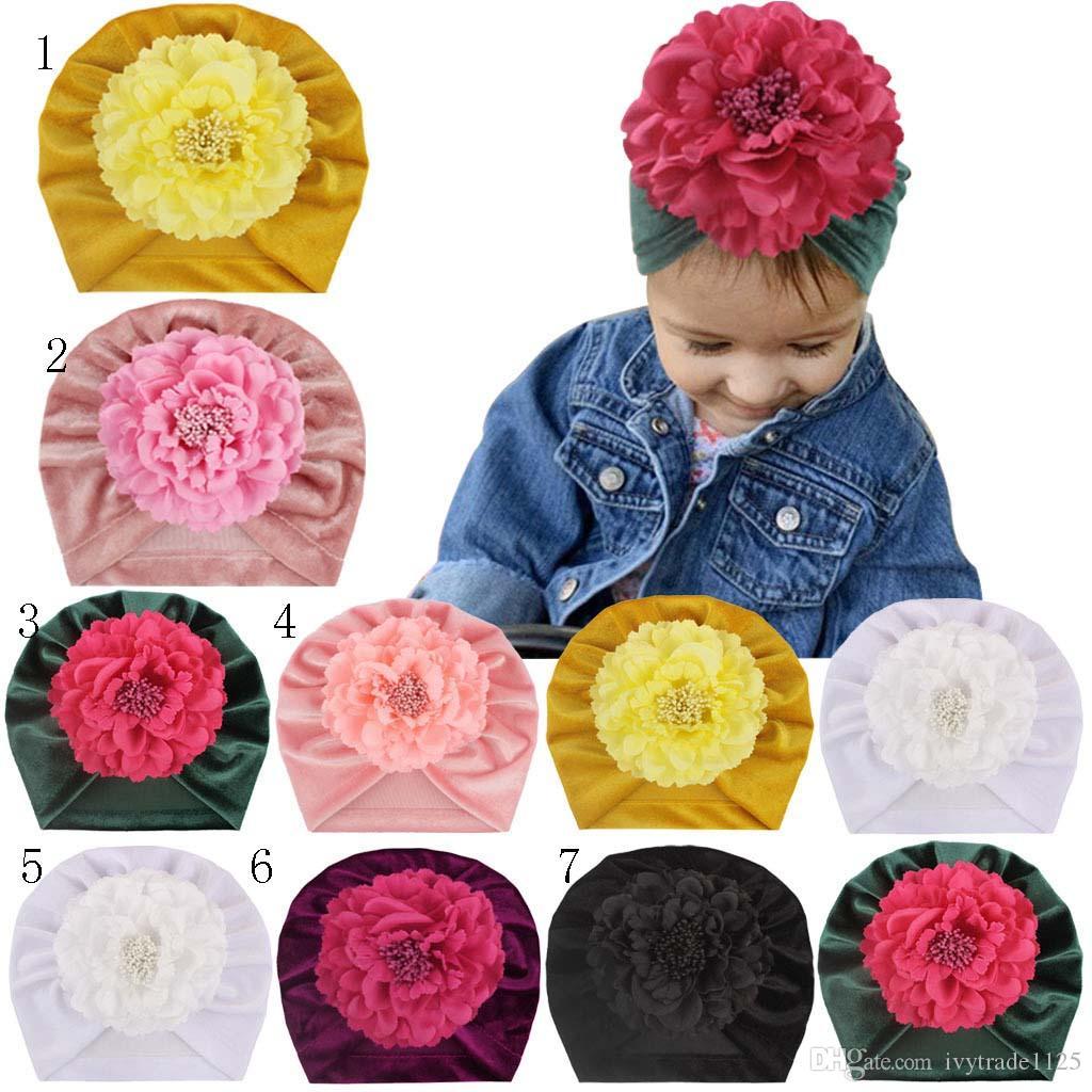 7 Colors Baby Girl Kids Winter Hat Gold Velvet Beanie Crochet With Cute Stereo Flower Hat New born Hat Cap Baby, Kids & Maternity