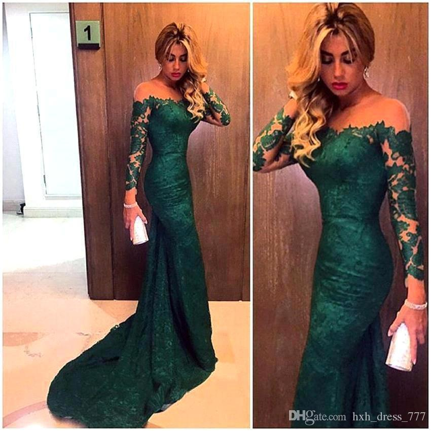 2019 Sexy New Emerald Green Long Sleeves Spitze Meerjungfrau Abendkleider Illusion Mesh Top Sweep Lange Prom Abendkleider Billig