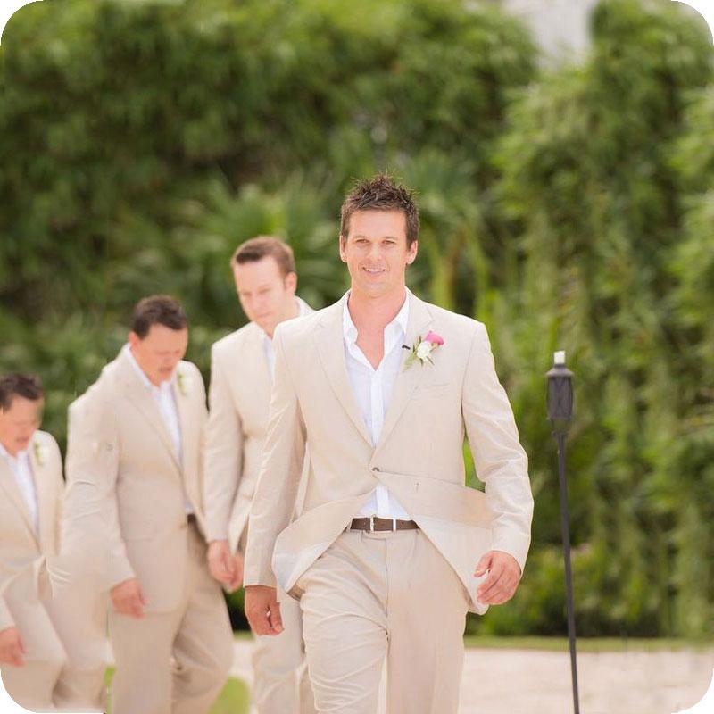 Sommer-Strand-Beige Leinen Mann-Klagen für Hochzeit Anzüge Bräutigam tragen nach Maß Bräutigam Slim Fit Lässige Smoking Best Man Blazer Jacket + Pants