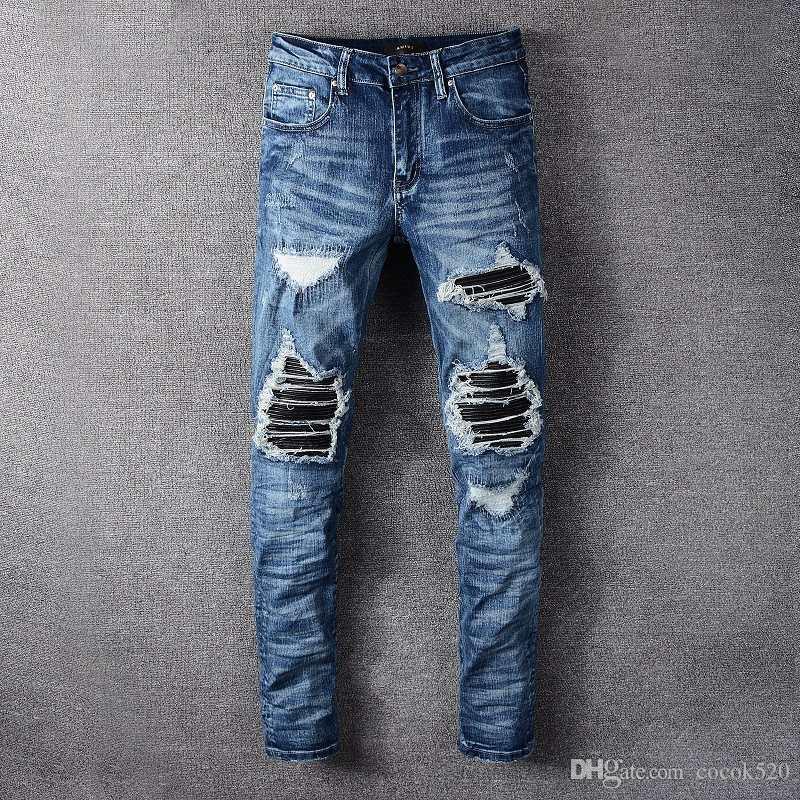 أزياء الرجال المصمم جينز 19FW الرجال للدراجات النارية السائق ريترو ممزق جينز الرجال النساء كل مباراة سليم صالح نحيل الجينز السراويل