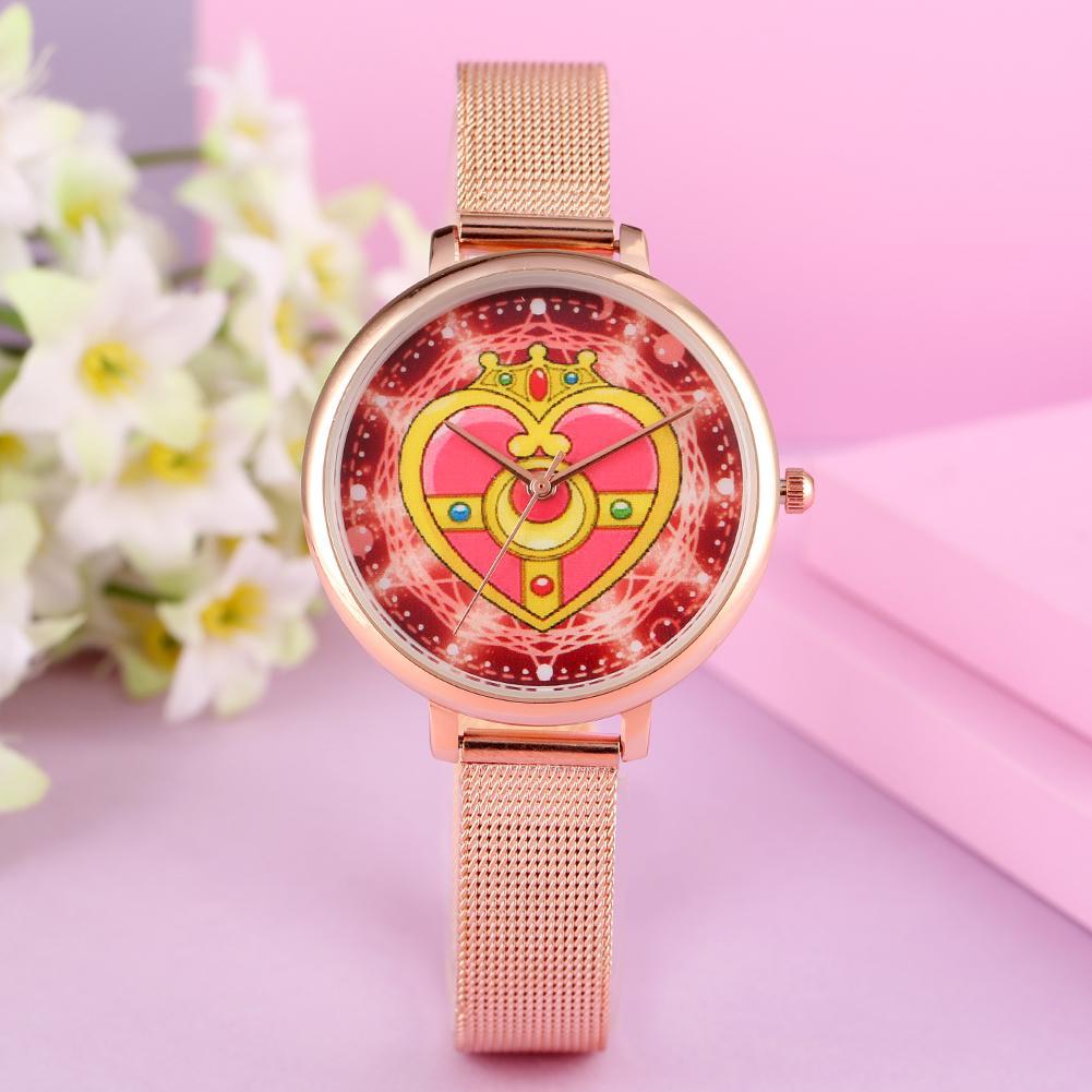 Fashion Quartz Women Watch Sailor Moon Heart Display Girl Watches Stainless Steel/Leather Strap Female Wristwatch zegarek damski