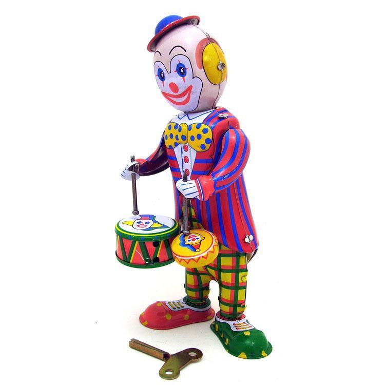 NB desenhos animados Tinplate Retro Wind-Up Toy, Palhaço batida do tambor, Nostalgic Estilo, ornamento individual, presentes do aniversário do miúdo Xmas, Coleção, MS363, 2-1