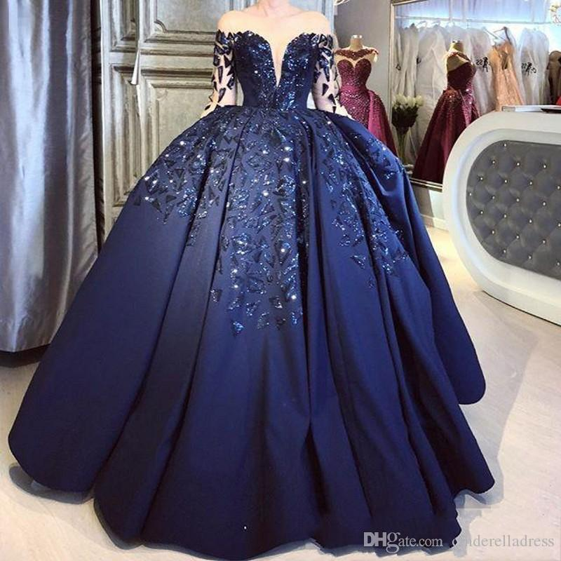 Vintage Navy Blue Satin Ball Prom Gowns 2019 Sheer Long Sleeves Sparkly Sequins Puffly Plus Size Formal Evening Quinceanera Party Dresses