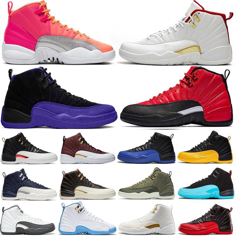 Alta qualità Winterized 12s di pallacanestro degli uomini calza 12 Nuova inversione di taxi gioco della palla Gioco Reale nero scuro Concor FIBA Mens Sneakers Sport