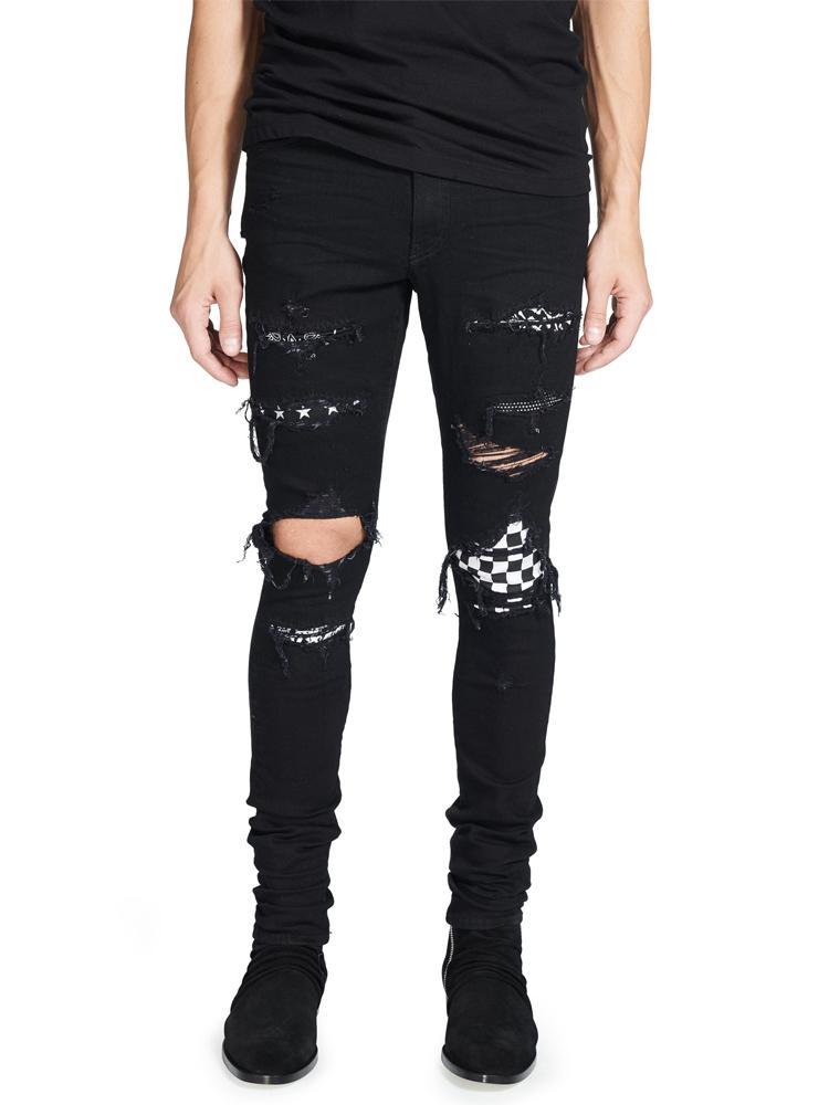 2018 High Street Fashion Jeans Hommes Détruit Couleur Noir Hip Hop Jeans Hommes Pantalons Punk Cassé Patch Skinny Ripped pour les hommes