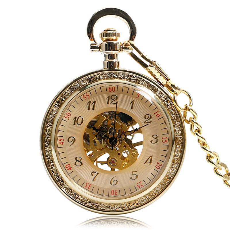 Antique Mechanical Watches Women Windup Open Face Classic Style Golden Pendant Mechanical Hand Wind for Men Women Best Gifts