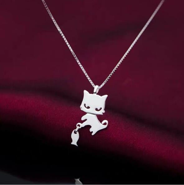 Silber Kettenanhänger Mädchen hübsch Katze und Fisch Halskette koreanische Art und Weise Claviclekette Flut gift269